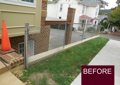 Before Fence Replaced on Retaining Wall