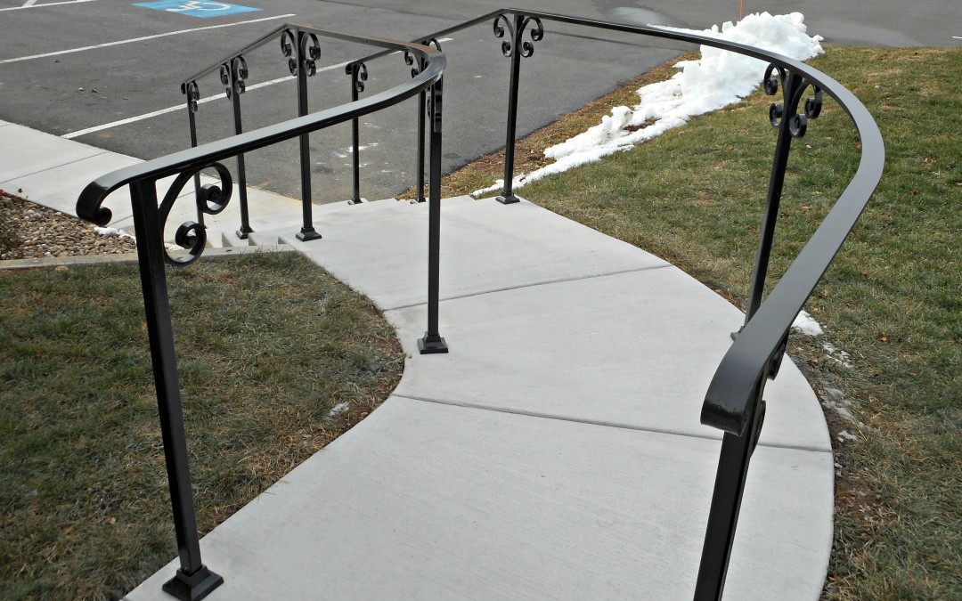 Classic Railing Design- Curved Exterior Stair Railings - Antietam ...