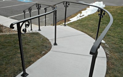 Classic Railing Design- Curved Exterior Stair Railings
