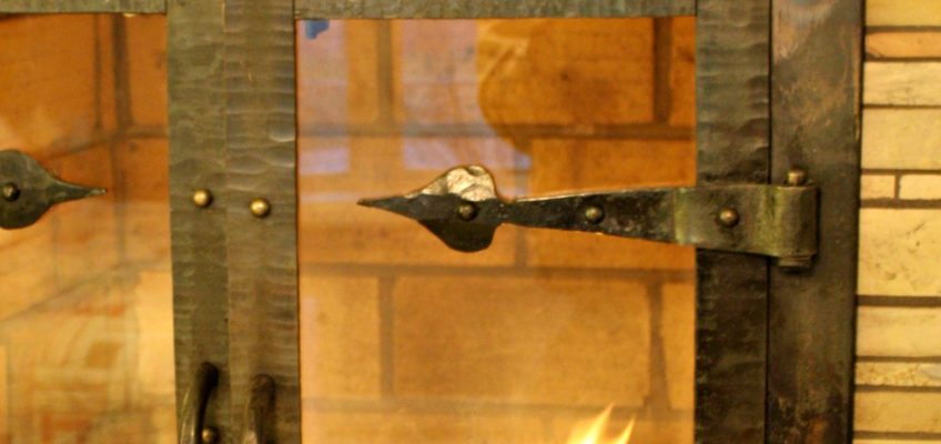 Forged Iron Fireplace Door Detail