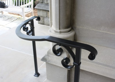 Curved Post and Cap Railing with scrolls and collars