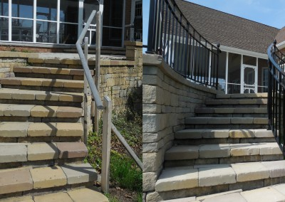 Before and After Iron Patio Step Railing