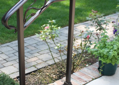 Iron Step Railing with leaves by Antietam Iron Works