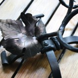 Hand Forged Wrought Iron Wine Bottle Holder- Large Leaf Detail