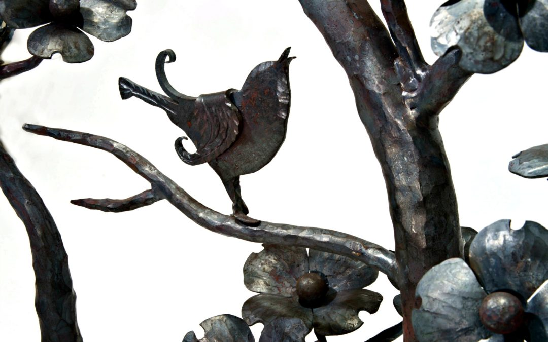 "Wrought Iron Sculpture ""Spring""- Song birds in a Dogwood Tree"