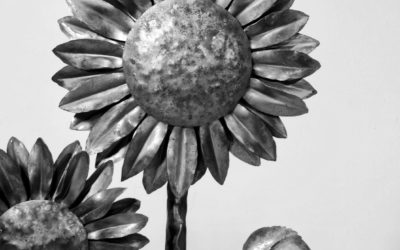 Wrought Iron Sunflowers Sculpture