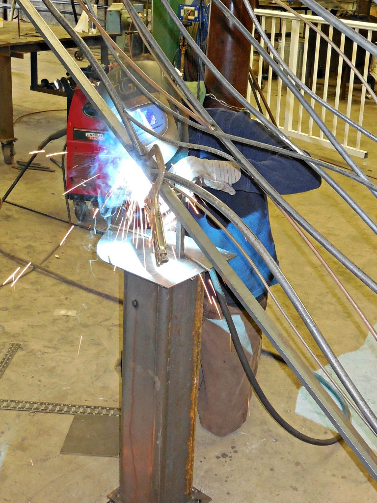 Modern Railing being made in the shop