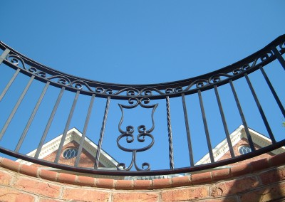 Exterior Balcony Railing with scrolls and rope twisted pickets
