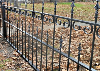 Restored Antique Picket Wrought Iron Fence