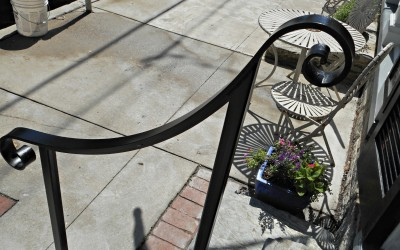 Wrought Iron Step Railing for Business in Historic District of Shepherdstown, WV