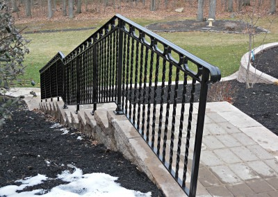 Step Railings Down a retaining wall