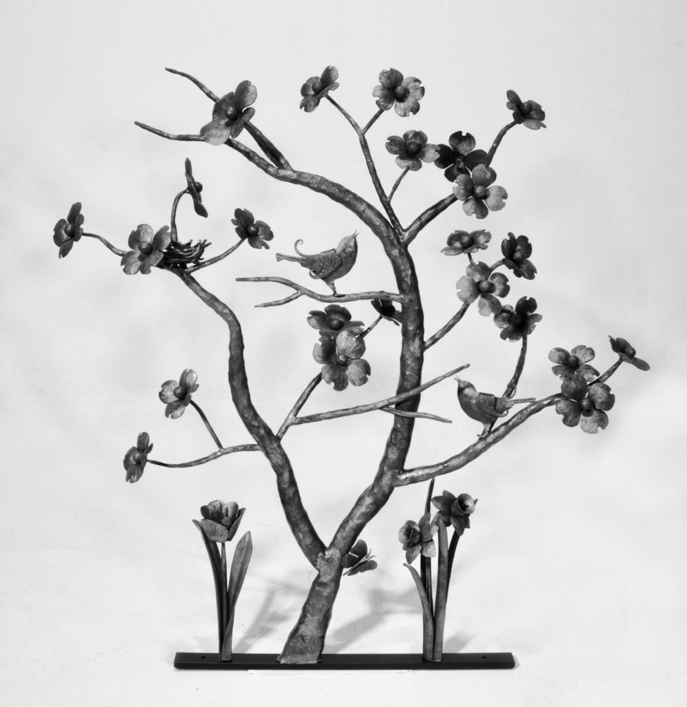 Metal Art- Flowering Dogwood Tree with birds, flowers, and even a butterfly