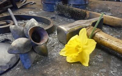 A Bronze Gilded Daffodil