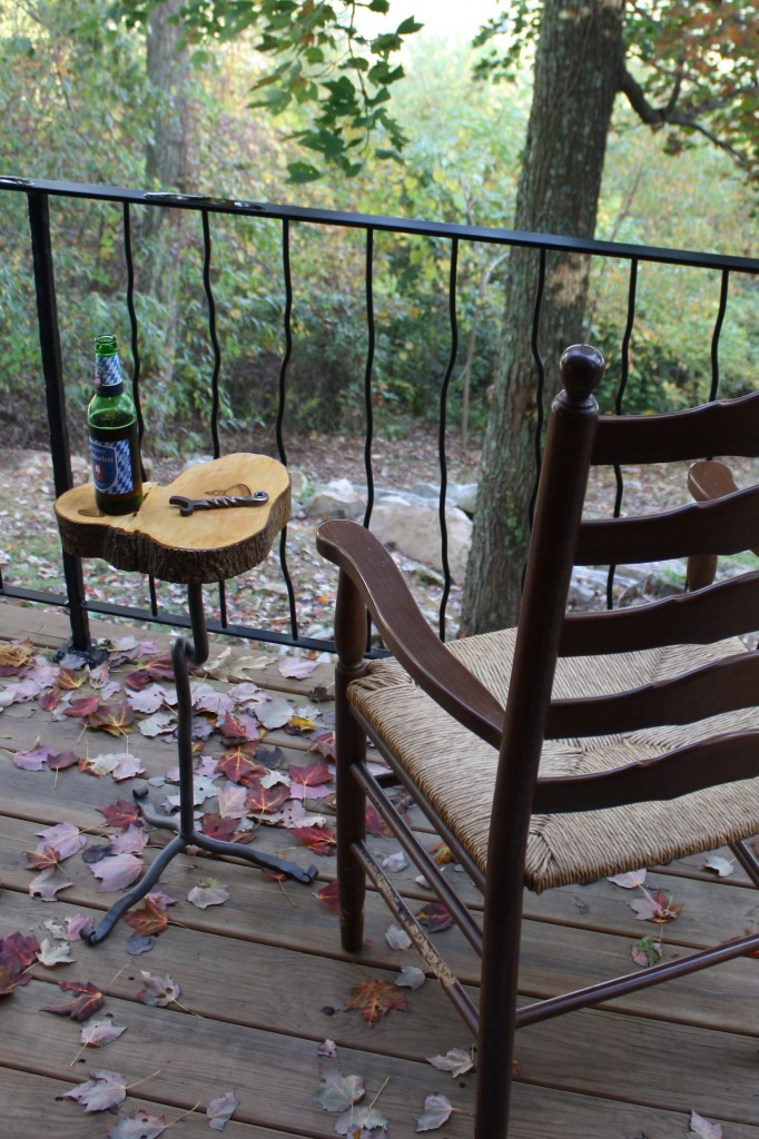 Wrought Iron Stand live edge wood