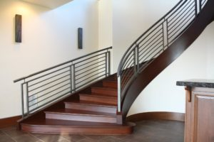 modern curved interior railing